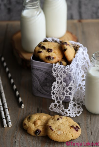 Keksići sa brusnicama i belom čokoladom / Dried cranberries and white chocolate cookies
