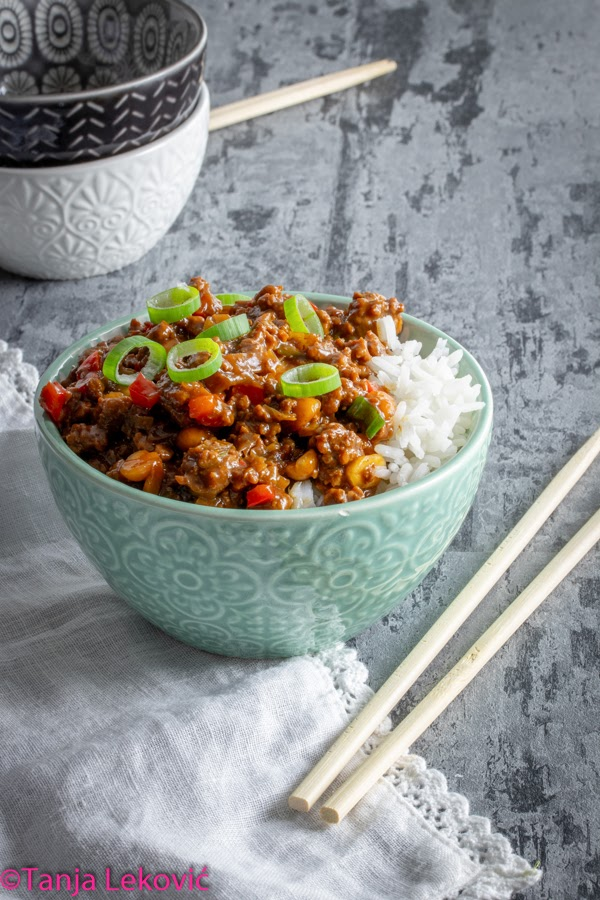 Mleveno meso na kineski način / Minced meat in Chinese way (Kung Pao beef)